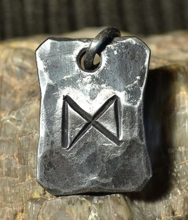 DAGAZ, forged iron rune pendant