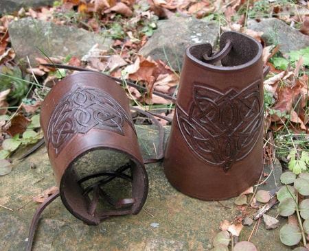CARVED LEATHER BRACERS