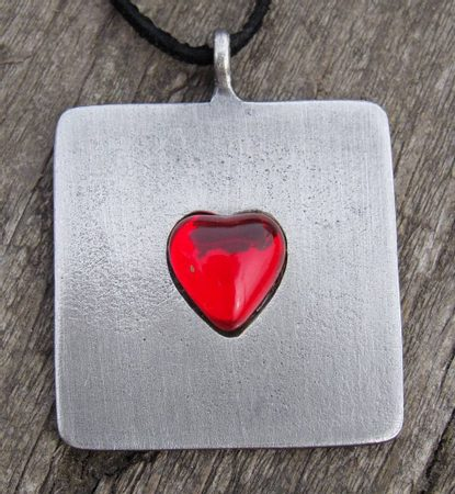HEART PENDANT, glass, Pendants with Hearths, Hearts, Manufacturer, Producer, Pewter
