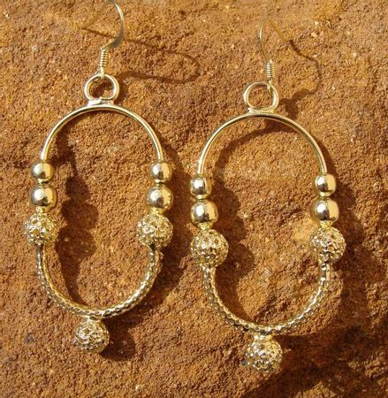 OLD SLAVIC EARRINGS, gold plated
