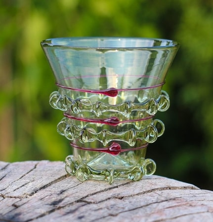 HAARLEM, glass cup, red