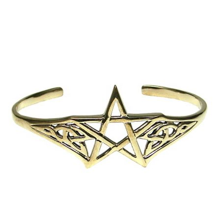 BRONZE BANGLE WITH PENTAGRAM AND CELTIC MOTIF