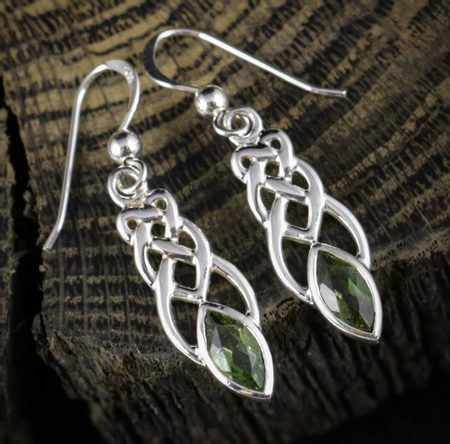 Earrings, faceted Moldavite, silver
