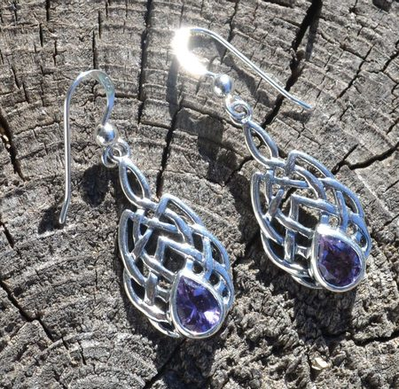 Amethyst Faceted Earrings Sterling Silver