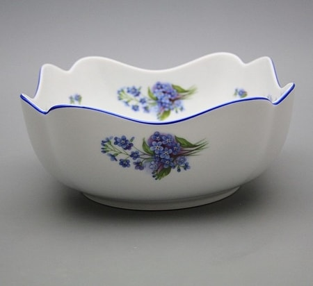 SALAD BOWL, forget-me-not, Czech Porcelain