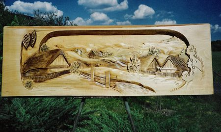 CARPATHIAN VILLAGE, wide wooden wall decoration