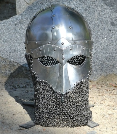 STEINAR, VIKING HELMET WITH CHAINMAIL, RIVETED CHAINS