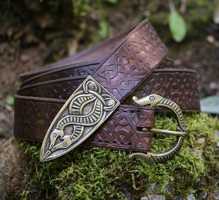 VIKING BELT, BORRE BEAST, LEATHER BRONZE EMBOSSED BROWN