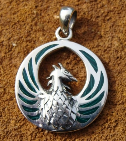Rising of Phoenix, silver and malachites - PT-2819