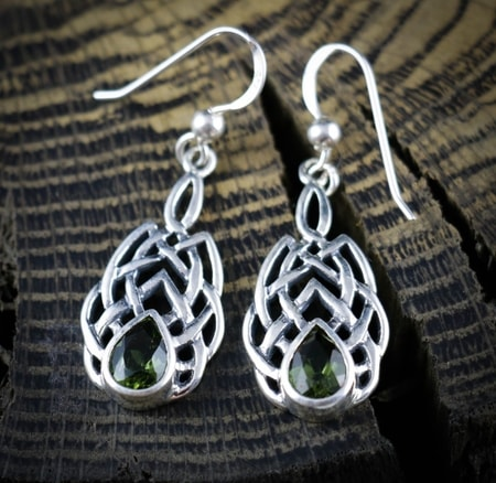 BOIOHAEMUM, Moldavite - earrings, sterling silver