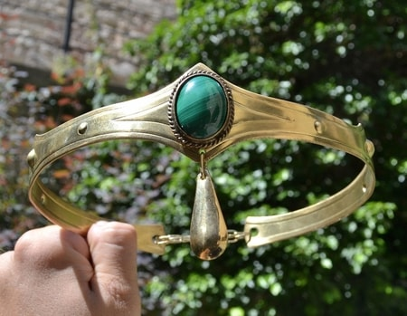 MEDIEVAL GOTHIC CROWN with malachite