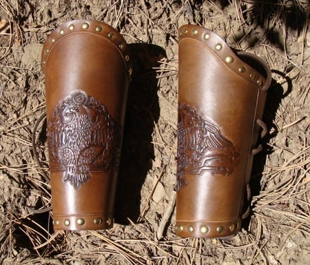 ROMAN LEGIO EAGLE, LEATHER BRACERS