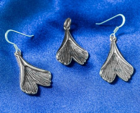 GINKGO, set of earrings, pendant - silver