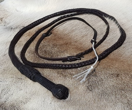 Leather Cow Whip, black