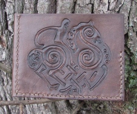 ODIN AND SLEIPNIR, CARVED LEATHER WALLET