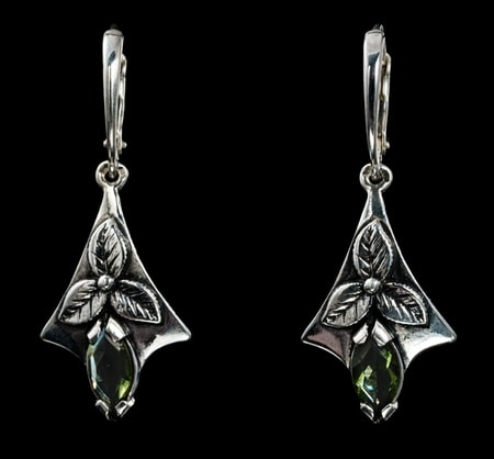 SHAMROCK, earrings, moldavite, silber