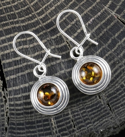 MAZURKA, amber, earrings, sterling silver