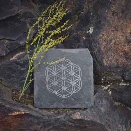 FLOWER OF LIFE SLATE COASTER