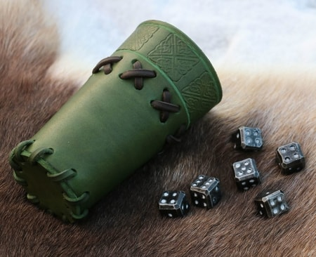 Forged Dice 6 x, leather cup, green