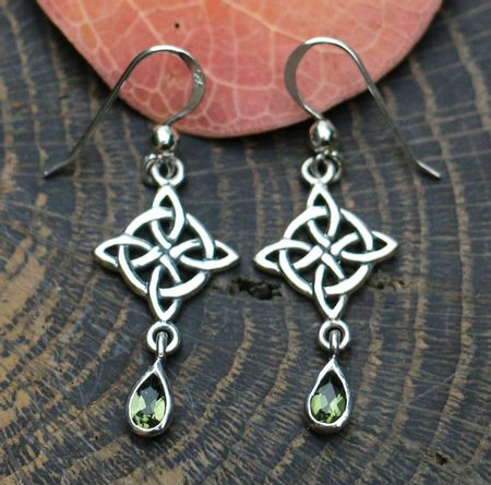 ARIA, Earrings, Moldavit, silver