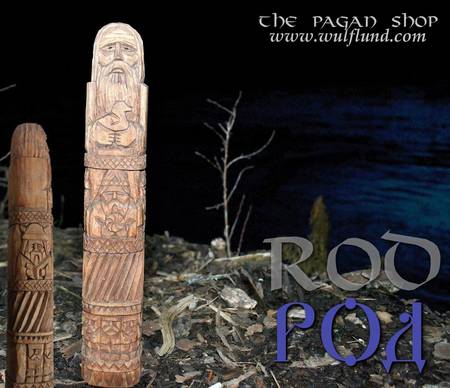 ROD, SLAVIC DEITY STATUE, CARVED FROM THREE SIDES
