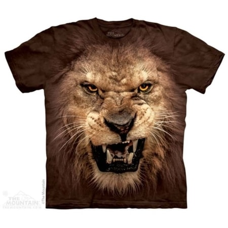 Big Face Roaring Lion - Big Cat T-Shirt The Mountain