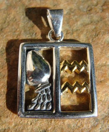 AQUARIUS, The Water Bearer, silver pendant