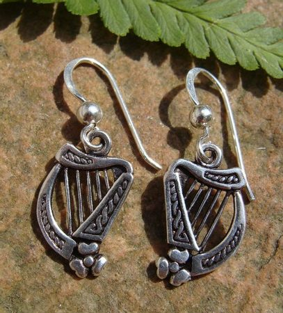 IRISH HARP, silver earrings, Ag 925