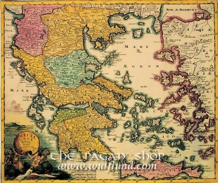 MAP OF GREECE, historical map, replica