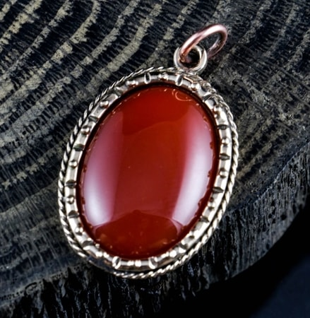 AGATE - red, large, bronze, pendant