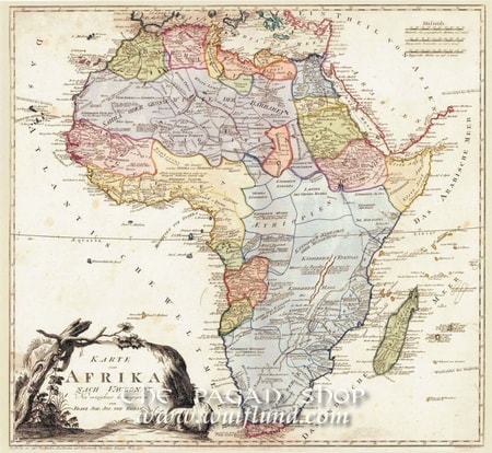 AFRICA 1795, historical map, replica