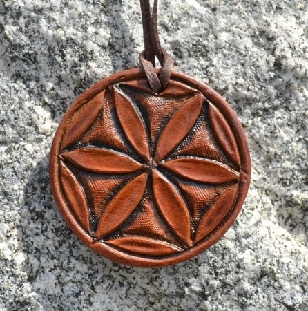 SVARGA, hand carved leather talisman of Slavic God Svarog