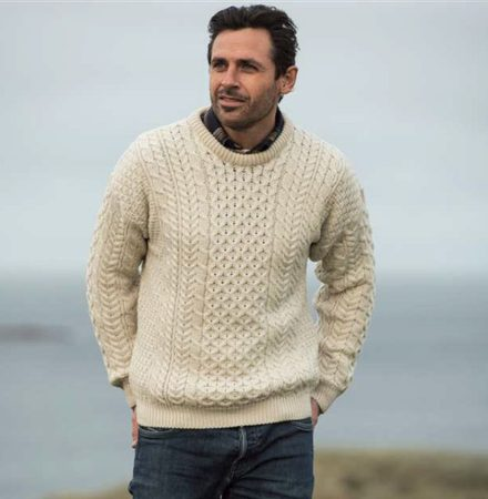 TRADITIONAL ARAN SWEATER, MERINO WOOL, NATURAL COLOUR