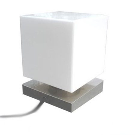 CUBE, TABLE LAMP, MATTE NICKEL STAND, 150 MM