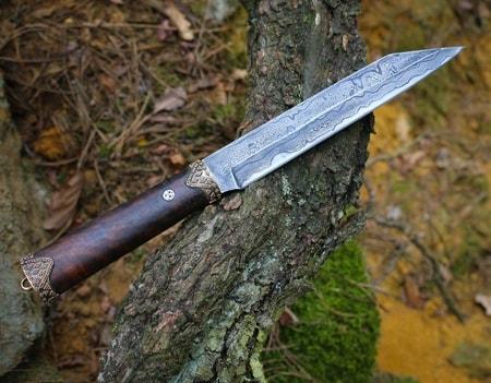 Picture of cheap viking knife - Hj Rtur Viking Seax Knife Damask