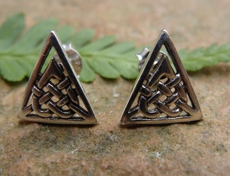 CELTIC TRIANGLES, modern art, earrings, Ag 925