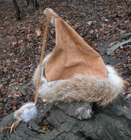 VIKING CAP - HAT - VIKING SKULLCAP - HEADGEAR - LEATHER - FOX