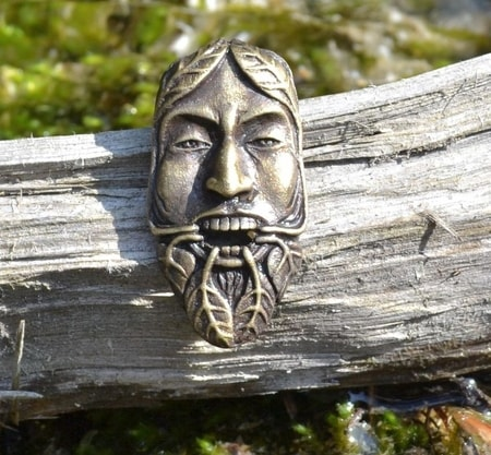 GREENMAN, tin pendant, brass plated