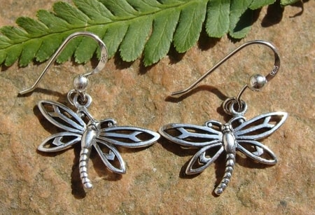 DRAGONFLIES, silver earrings, Ag 925