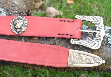 LIONHEART, LEATHER BELT, RED
