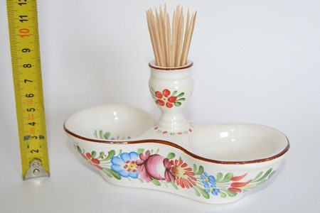 SPICIES AND TOOTHPICK STAND, TRADITIONAL CERAMICS FROM SOUTH BOHEMIA