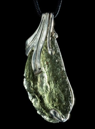 Moldavite Pendant | sterling silver necklace