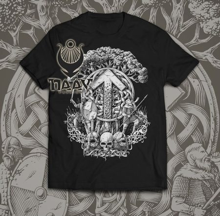 TIWAZ - Collection FUTHARK, men's T-Shirt B&W