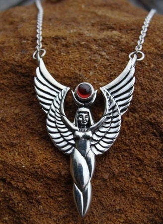 Winged Isis Necklace, silver jewel