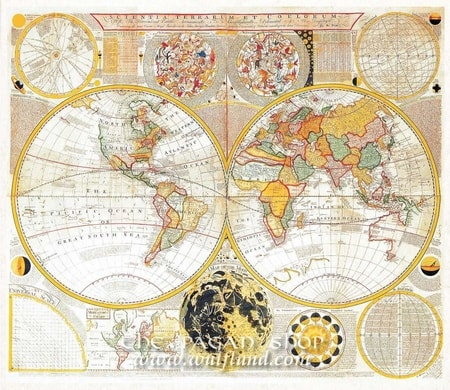 THE WORLD AND MOON PHASES, historical map, replica