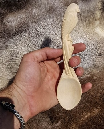 FALCON, carved wooden spoon