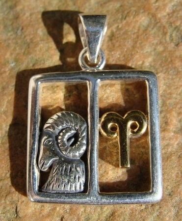 ARIES, THE RAM, SILVER PENDANT