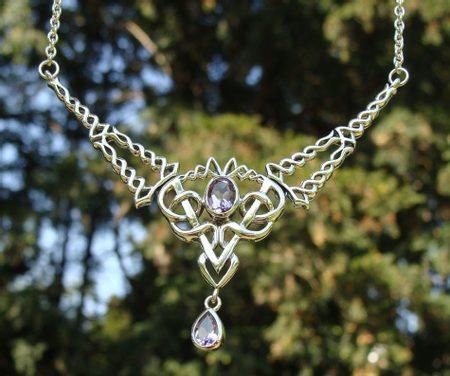 OBERON, SILVER NECKLACE WITH AMETHYST, AG 925, 15 G