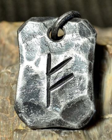 FEHU, forged iron rune pendant