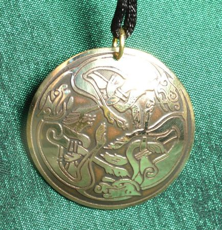 CELTIC CATS, BRASS NECKLACE, MADE IN IRELAND